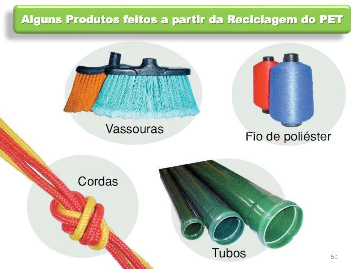Alguns Produtos feitos a partir da Reciclagem do PET