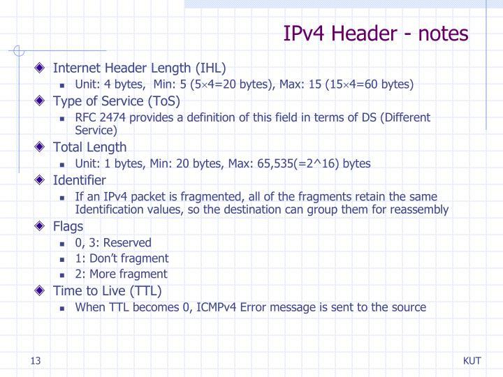 IPv4 Header - notes