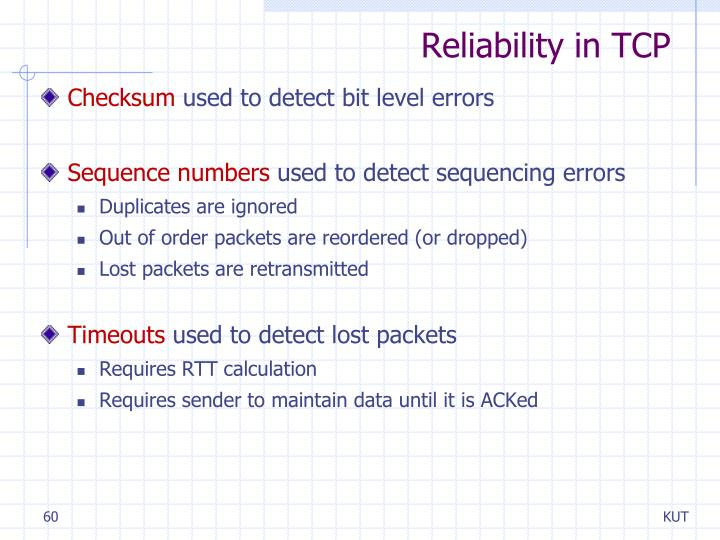 Reliability in TCP
