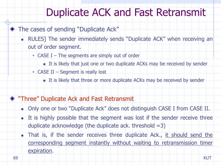 Duplicate ACK and Fast Retransmit