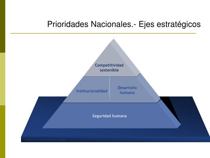 Prioridades Nacionales.- Ejes estratégicos