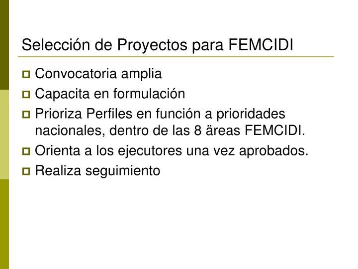 Selección de Proyectos para FEMCIDI