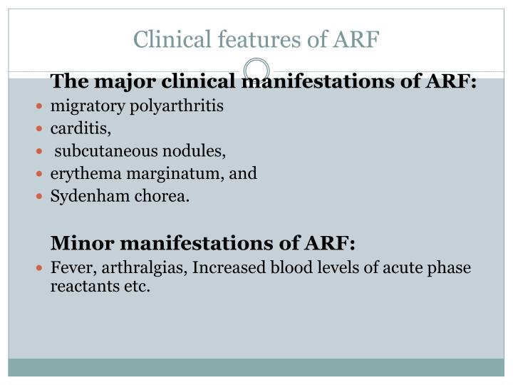 Clinical features of ARF