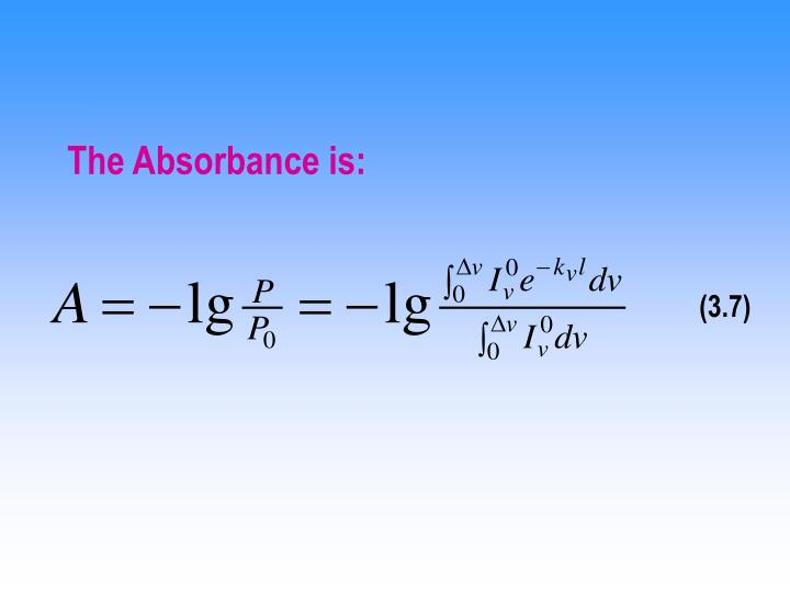 The Absorbance is: