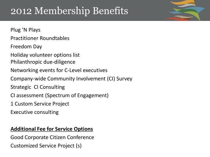 2012 Membership Benefits