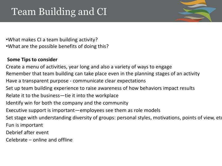 Team Building and CI