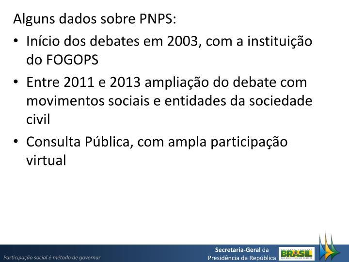Alguns dados sobre PNPS: