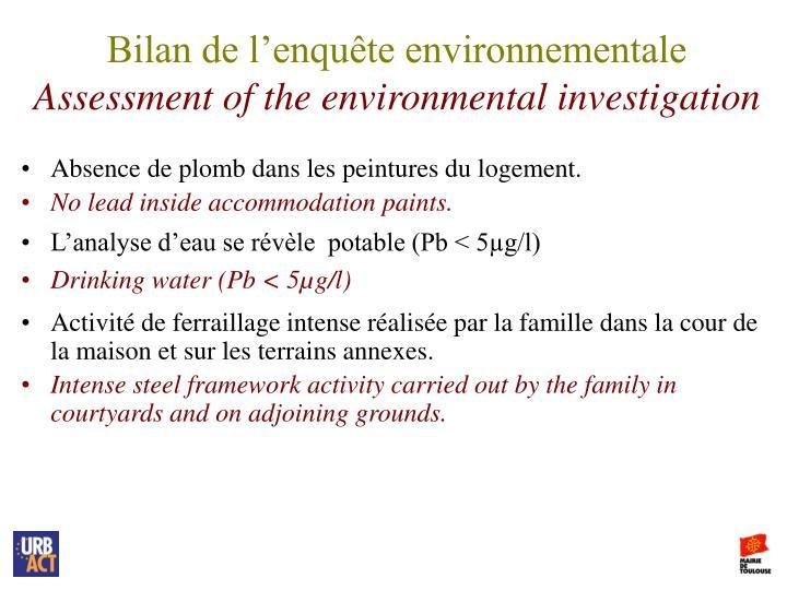 Bilan de l'enquête environnementale