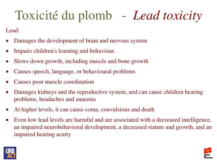Toxicité du plomb   -