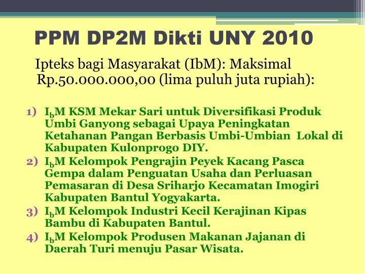 PPM DP2M Dikti UNY 2010