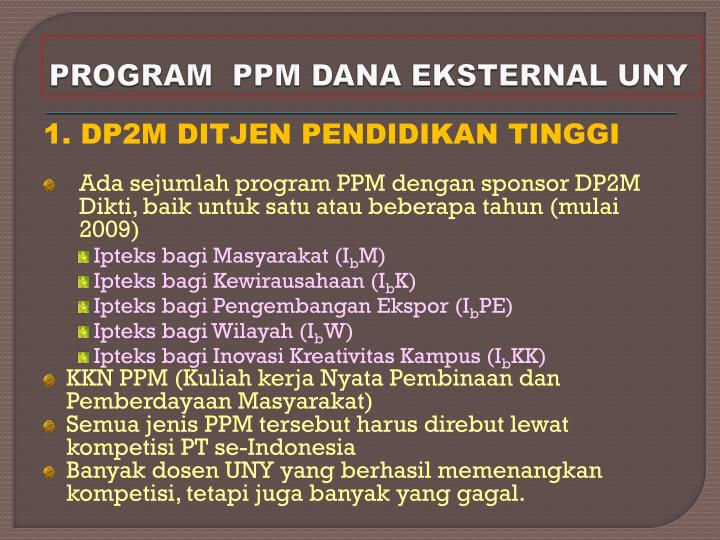 PROGRAM  PPM DANA EKSTERNAL UNY