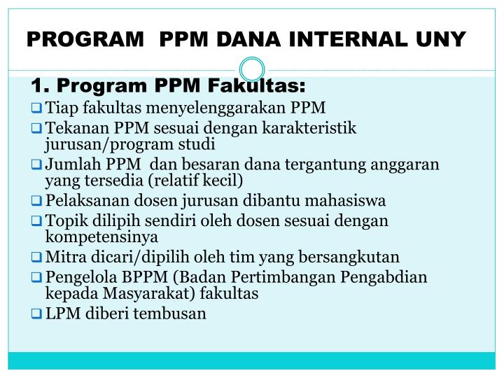 PROGRAM  PPM DANA INTERNAL UNY