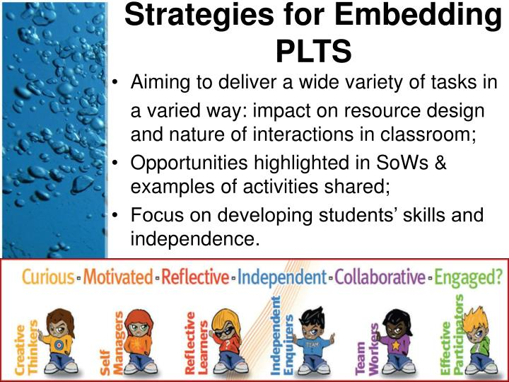 Strategies for Embedding PLTS