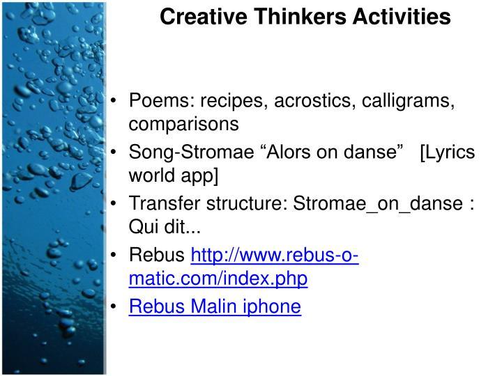 Creative Thinkers Activities