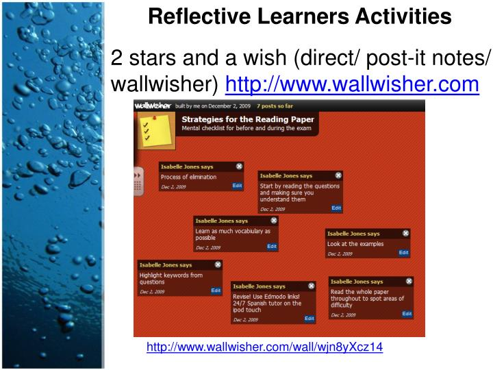 Reflective Learners Activities