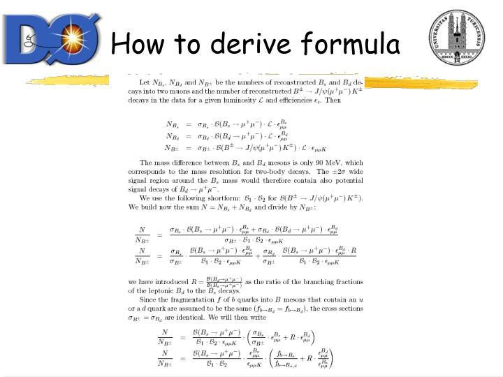 How to derive formula