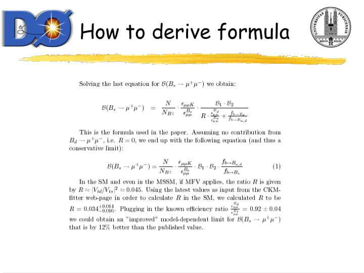 How to derive formula