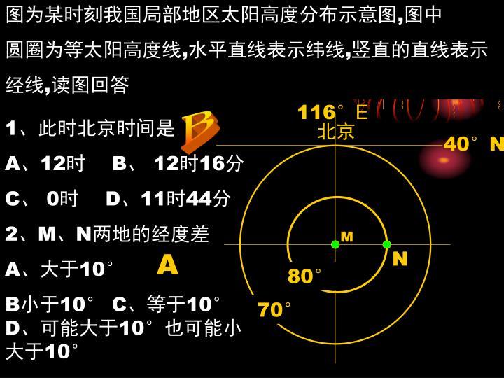 图为某时刻我国局部地区太阳高度分布示意图