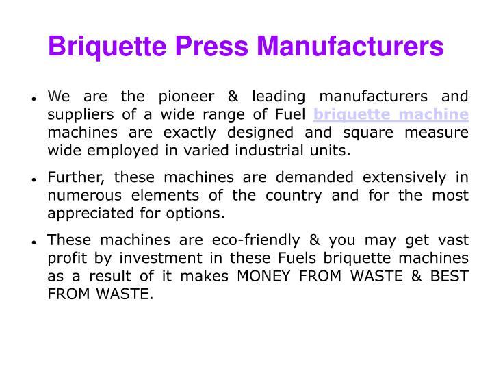 Briquette Press Manufacturers