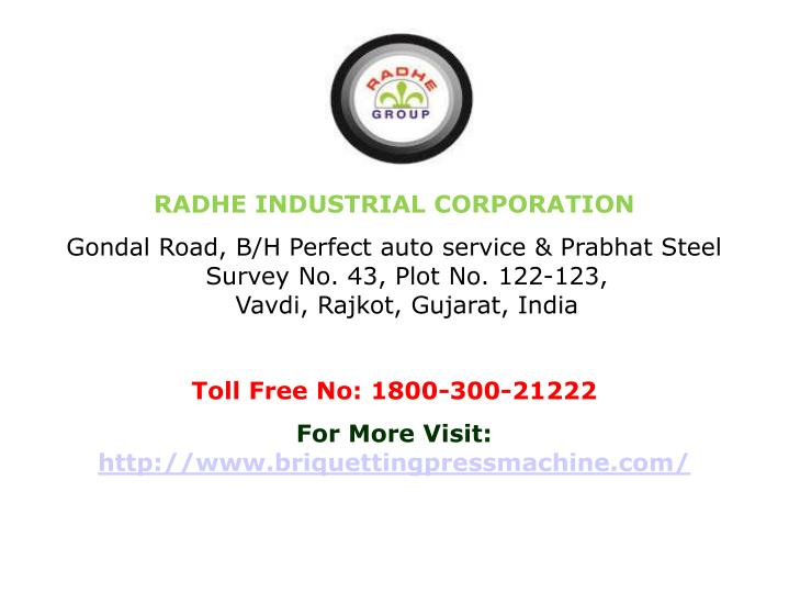 RADHE INDUSTRIAL CORPORATION