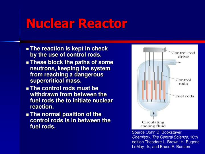 The reaction is kept in check by the use of control rods.