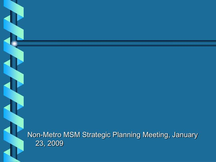 Non-Metro MSM Strategic Planning Meeting, January 23, 2009