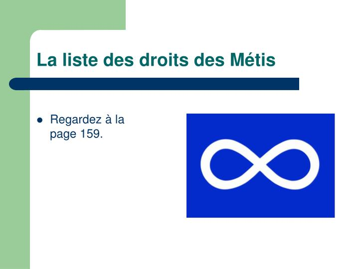La listedes droitsdes Métis