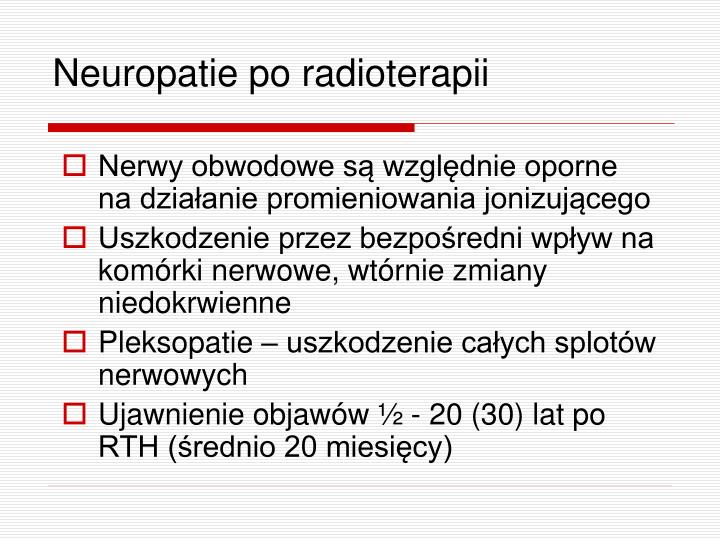 Neuropatie po radioterapii