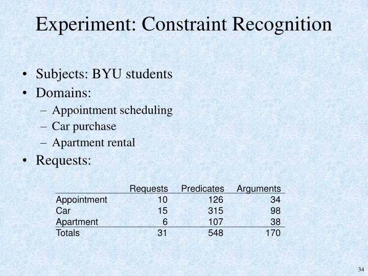 Experiment: Constraint Recognition