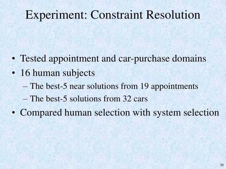 Experiment: Constraint Resolution