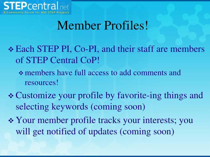 Member Profiles!