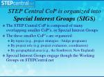 step central cop is organized into special interest groups sigs