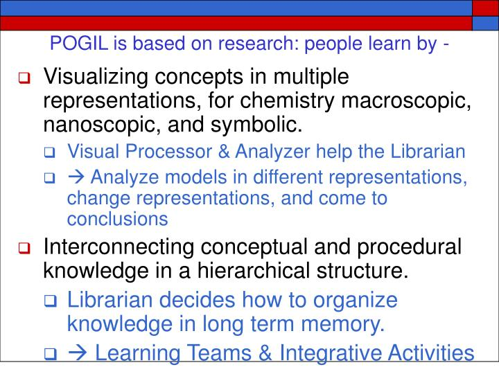 POGIL is based on research: people learn by -