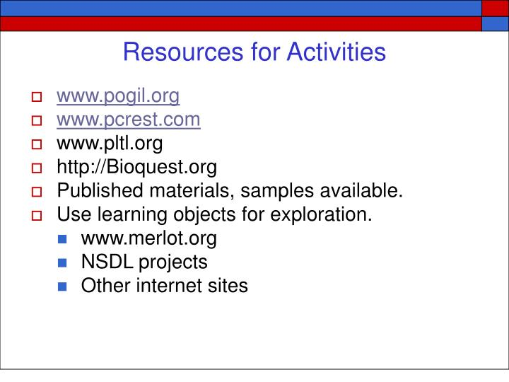 Resources for Activities
