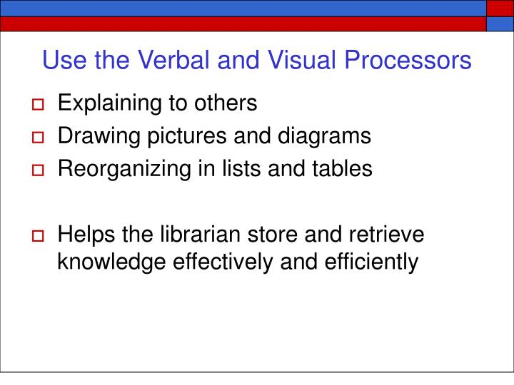Use the Verbal and Visual Processors