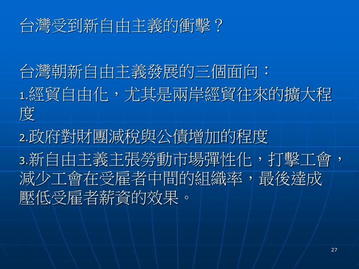 台灣受到新自由主義的衝擊?
