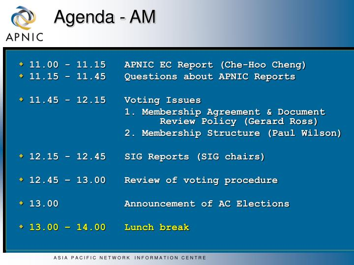 Agenda - AM