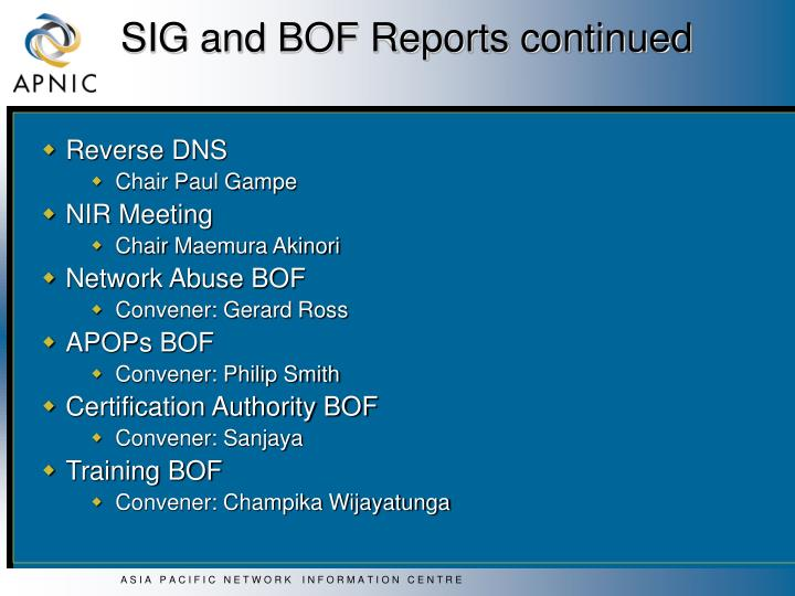 SIG and BOF Reports continued