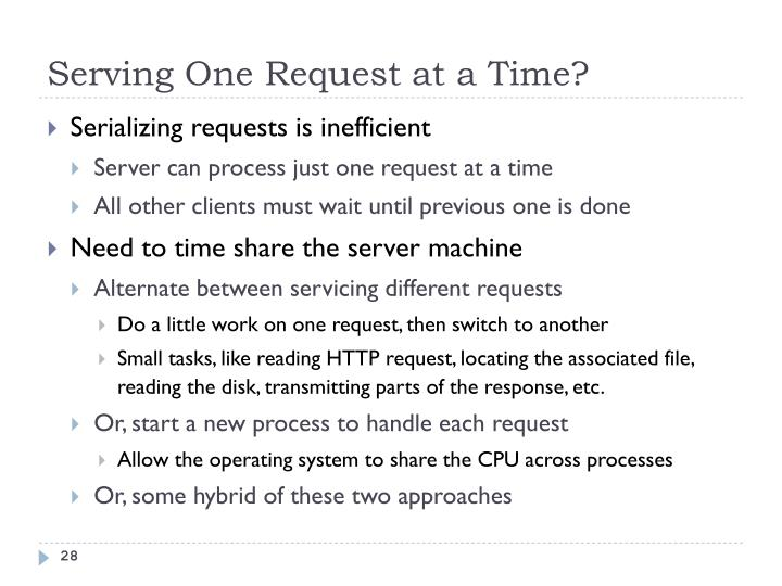 Serving One Request at a Time?