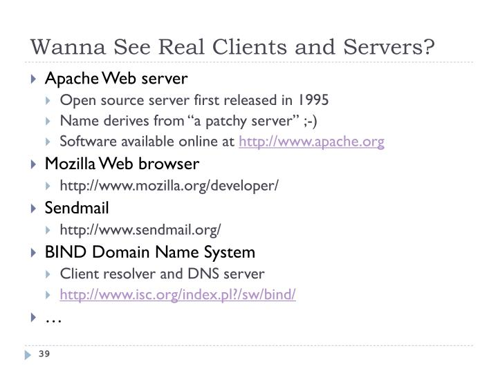 Wanna See Real Clients and Servers?