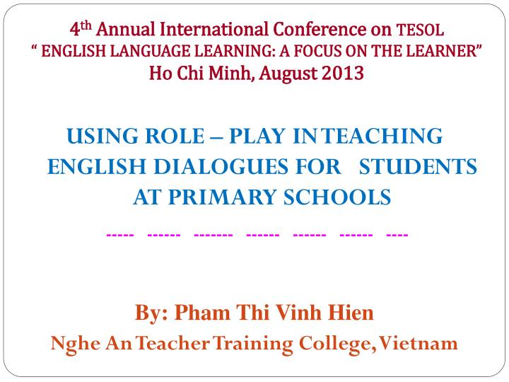 Using role play in teaching english dialogues for students at primary schools