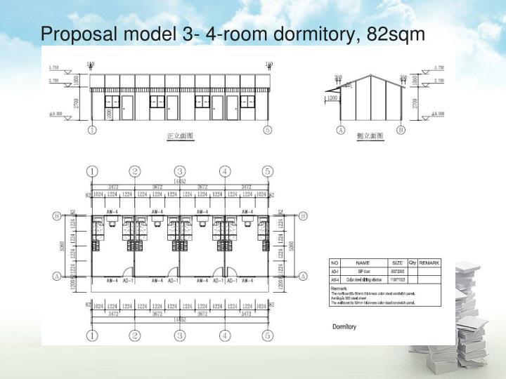 Proposal model 3- 4-room dormitory, 82sqm