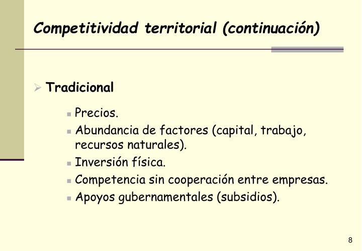 Competitividad territorial (continuación)