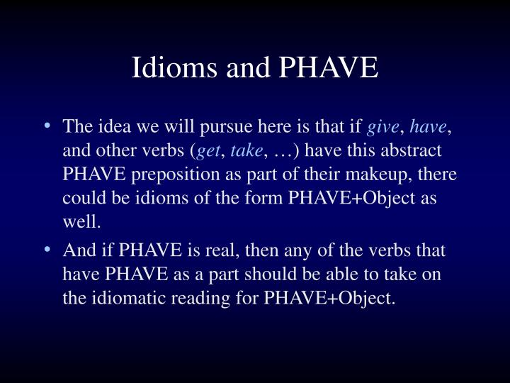 Idioms and PHAVE