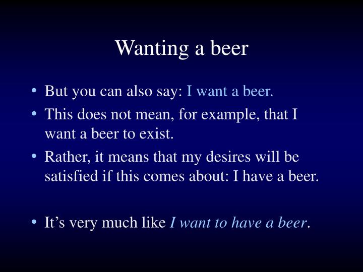 Wanting a beer