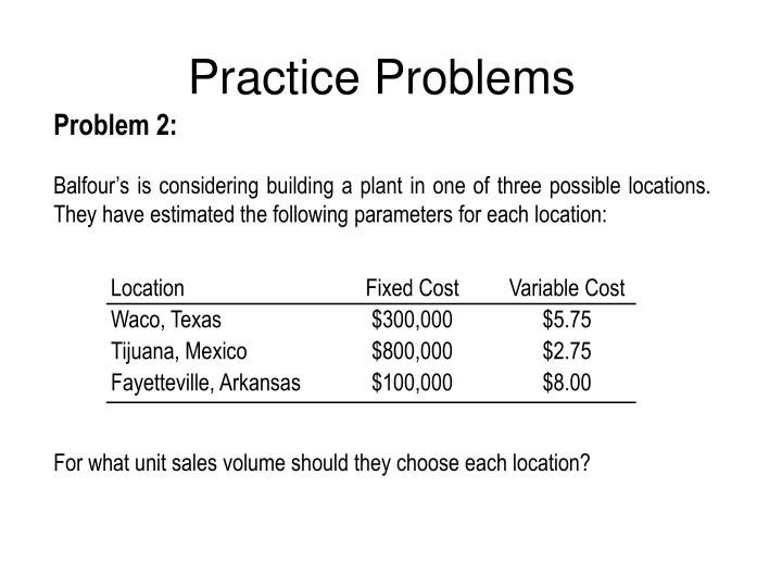 Location	Fixed Cost	Variable Cost