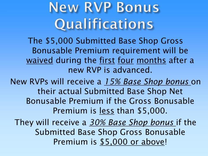 New RVP Bonus Qualifications