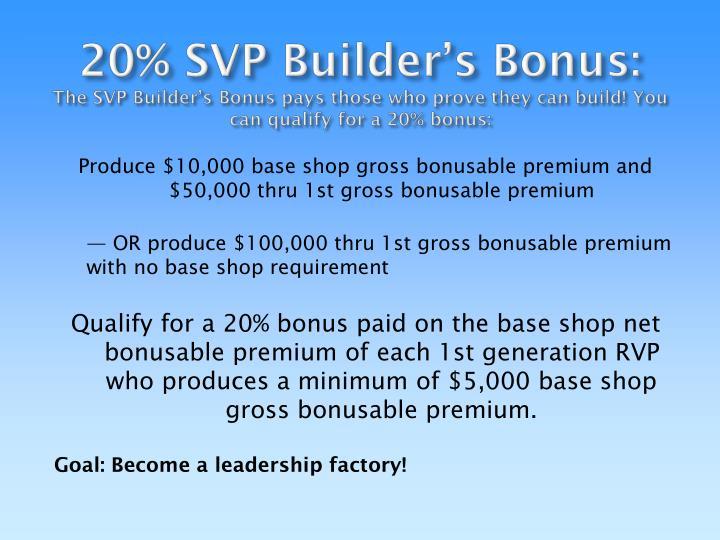 20% SVP Builder's Bonus: