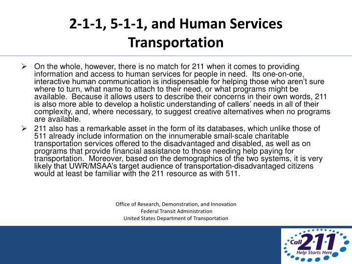 2-1-1, 5-1-1, and Human Services Transportation
