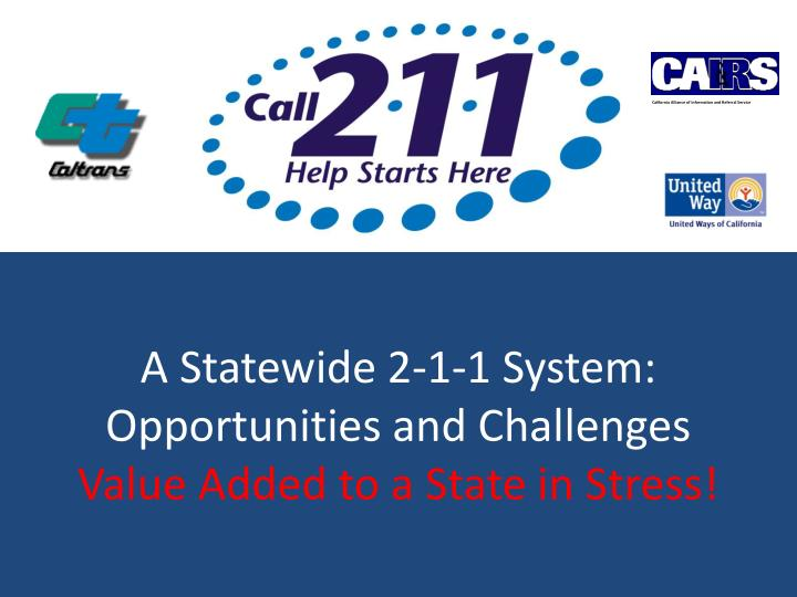a statewide 2 1 1 system opportunities and challenges value added to a state in stress